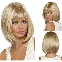 Para mujer peluca de pelo sintético peluca lejía Rubio bobo corto recto sintético fabuloso peluca Natural como real pelo partido peluca