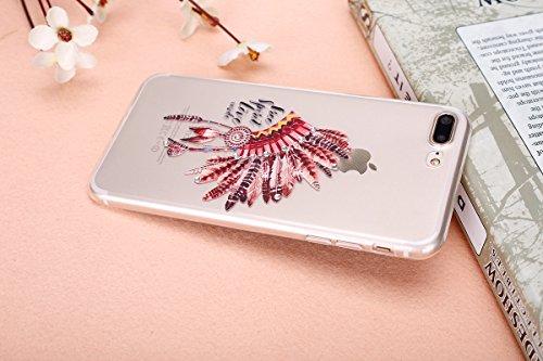 iPhone 7/iPhone 8 Coque Coquille en Silicone Transparente Housse Etui iPhone 7 /iPhone 8 Pink Rose Romantique Élégant Beau Fleurs de Cerisier Motif Ultra Mince Thin Flexible Doux Caoutchouc Couverture Plume 1