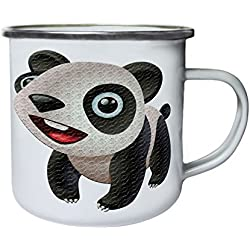Divertido oso Panda Smiley Retro, lata, taza del esmalte 10oz/280ml z245e