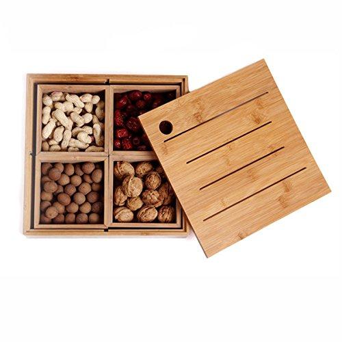 Lujo sharer Snack caja de madera para frutos secos dulces y plato de frutos secos caja con tapa (nutbox)