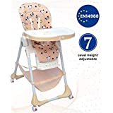 R for Rabbit Marshmallow 7 Levels Smart Feeding Table High Chair for New Born Baby Kids Toddlers from 0 to 5 Years with Multiple Recline Position and Study Table & Booster Chair(Beige)