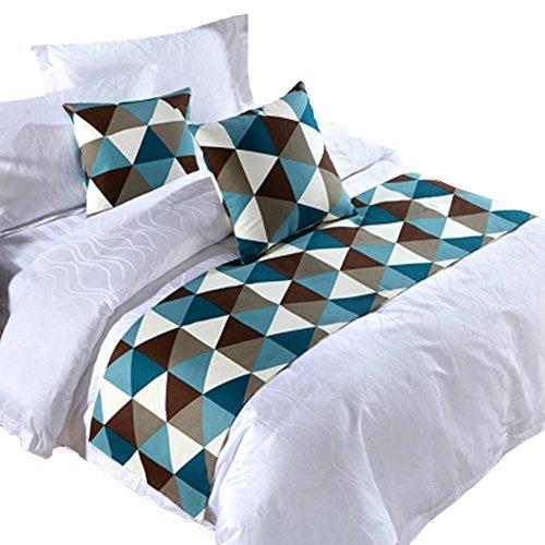 Yazi Luxe Hôtel chemin de lit matelassé Taie d'oreiller Couvre-lit Maison Chambre à coucher Parure de lit en lin Bleu Café King double Unique, Coton, Bleu/marron, 50x210cm