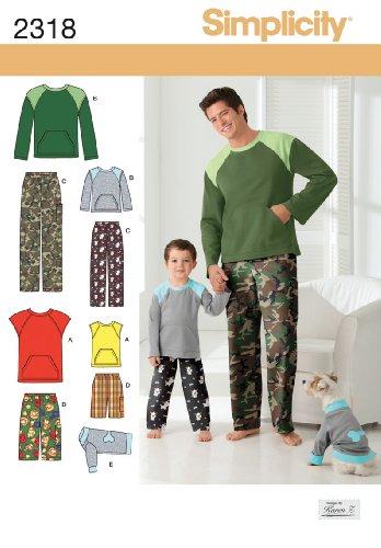 Simplicity A Schnittmuster 2318 Loungewear und Oberteil für Jungen und Herren L /- XL (Loungewear Pjs)