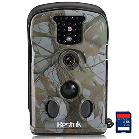 Bestok Caméra de Chasse 12MP HD Caméra de Surveillance Infrarouge Vision Nocturne 20m Basse Luminosité IR LEDs Imperméable Animaux Caméra Carte SD 8