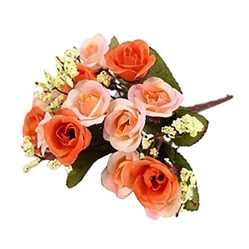 Amesii 1bouquet di fiori artificiali in seta, composto da rose, gipsofila e foglie, decorazione per la casa e per matrimoni, colore:arancione orange
