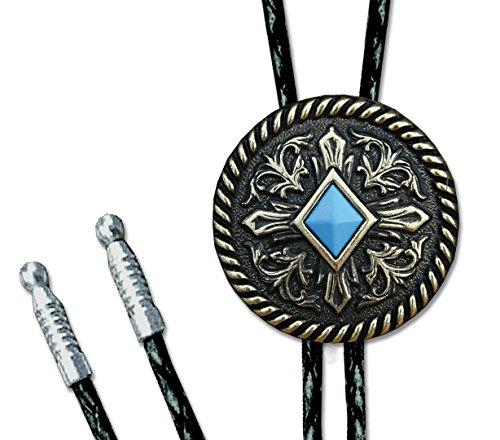 Westernwear-Shop Bolotie Turquoise Diamond - mit gratis Samtbeutel - Westernschmuck Bolotie für Damen & Herren Bolo Tie Bolokrawatten Cowboy Krawatte Cowboy-krawatte-verschluss