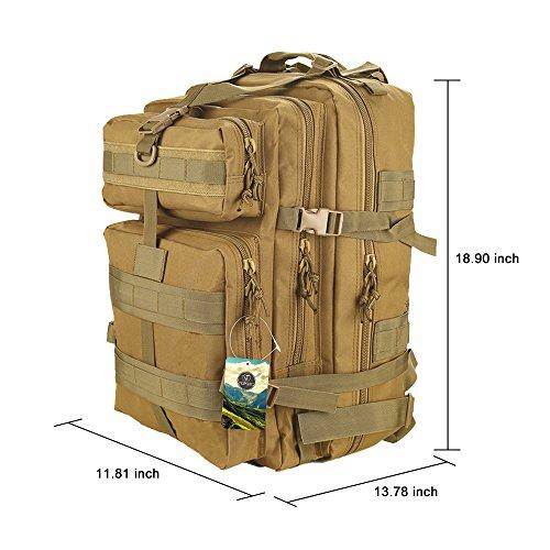 TOPQSC Military Tactical Rucksack, Modische 30L mehrere Farben Wandern Bergsteigen Biking Outdoor Military Tactical Rucksack Trekking Tasche für Reisen Wandern mit Top Qualität 45L-Kahki