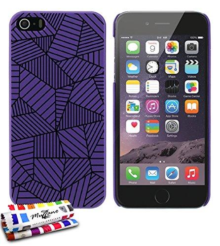 Ultraflache weiche Schutzhülle APPLE IPHONE 5S / IPHONE SE [Gekritzel Streifen] [Schwarz] von MUZZANO + 3 Display-Schutzfolien UltraClear + STIFT und MICROFASERTUCH MUZZANO® GRATIS - Das ULTIMATIVE, E violett