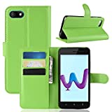 Ycloud Tasche für Wiko Sunny 3 Hülle, PU Kunstleder Ledertasche Flip Cover Wallet Case Handyhülle mit Stand Function Credit Card Slots Bookstyle Purse Design Grün