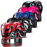 LNX Boxhandschuhe Performance Pro 10 12 14 16 Oz - ideal für Kickboxen Boxen Muay Thai MMA Kampfsport uvm blau/schwarz (401) 12 Oz