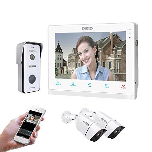TMEZON WLAN Video Türsprechanlage Türklingel Gegensprechanlage System, 10 Zoll WLAN Monitor mit Verdrahteter Kamera im Freien, Berührungsempfindlicher Bildschirm,Fernbedienung Türöffner und App