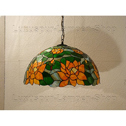 Tiffany Stil Pendelleuchte FLOSE - mit orangen Seerosen (Tiffany Seerose)