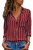 Avanon S-3XL Streifen Bluse Damen Oberteile Chiffon Elegante Herbst Langarmshirts V-Ausschnitt Knöpfe Shirts Langarm Hemd (A Rot-Weiss, XL)