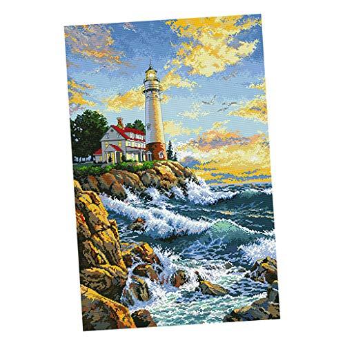 Hellery Gezählte Kreuzstich Stickpackung Nadelmalerei vorgezeichnet Leuchtturm Muster Wandbild zum Sticken, Stickset Stickvorlage -