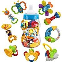 Fiouni Juguetes de mordedor para bebé sonajero Conjunto primeros sonajeros para bebé Conjunto de regalo para bebé bebés primer bebé 9 piezas (Bzul)