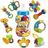 Fiouni Baby Rassel Beißring Spielzeug Set Babys Erste Rasseln Babys