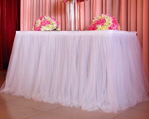 DSstyles Tischröcke, romantische Tischdeko mit Tüll, Tischdekoration, Wonderland Tischdecke, für Baby-Dusche, Hochzeit, Geburtstag, Party, Bar, Prom, Valentinstag Weihnachten - Weiß