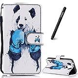 Slynmax Coque Galaxy S5 Panda Frappe la Boxe Motif Peint Mode PU Cuir Étui Housse de Protection Luxe Style Livre Pochette Case Rabat Magnétique Coque pour Samsung Galaxy S5 -Série Peinte
