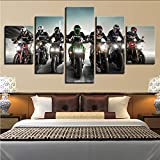 myvovo (Nessuna Cornice) Tela Pittura HD Stampa Home Decor 5 Pezzi Moto Rider Wall Art Immagini Modulari per Soggiorno Camera da Letto Artwork Poster