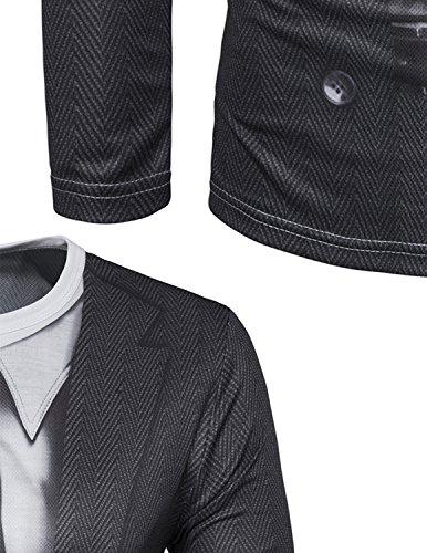 YCHENG Männer Anzug Mode 3D Druck Muster Slim Fit Langarm Rundhalsausschnitt T-Shirt Tops 1102L-I