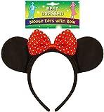 10 X Erwachsene Schwarze Filz-Maus Ohren auf einem Stirnband mit Red Bow