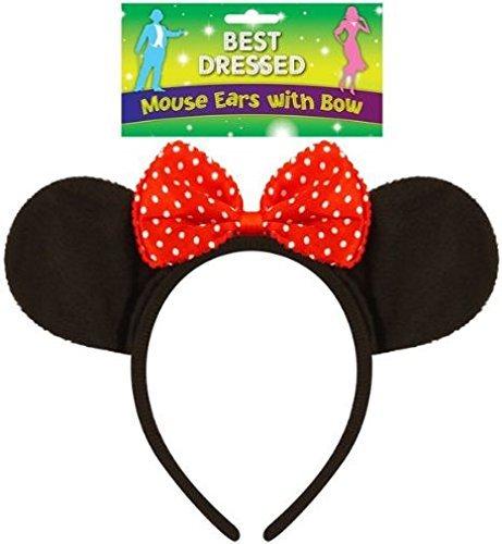 10 X Erwachsene Schwarze Filz-Maus Ohren auf einem Stirnband mit Red Bow (Stirnband Bow Red)