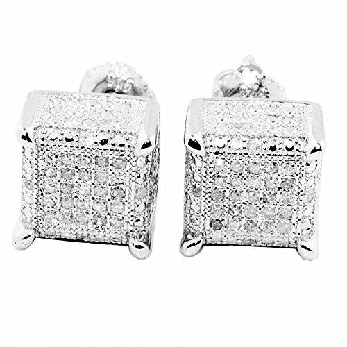 earrings-midwestjewellery Herren 1/4cttw Diamant Ohrringe Cube Form, viereckig, 9mm breit Schraubverschluss Diamant -