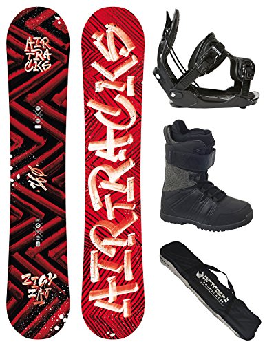 AIRTRACKS SNOWBOARD SET - WIDE BOARD DIRTY BRUSH 160 - SOFTBINDUNG FLOW FIVE - SOFTBOOTS STAR BLACK 43 - SB BAG (Air Flow Hose)