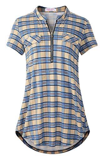 BELAROI Damen V-Ausschnitt Kariert Bluse Kurzarm Reißverschluss Tunika Casual Oberteile Langshirt Hemd T-Shirt Tops (Blau, XXL) -
