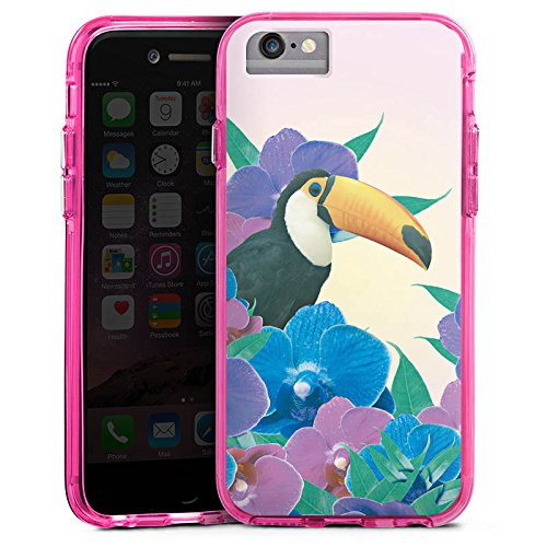 Apple iPhone X Bumper Hülle Bumper Case Glitzer Hülle Papagei Bird Vogel Bumper Case transparent pink