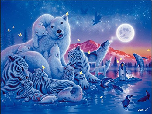 Home Decor Kit (4 Stück Dolphin Diamond Painting, Kreuz Thema 5D DIY Diamant Malerei Stickerei Crystal Strass Bilder Kreuzstich Handwerk für Home Decor Kit Tiger Blume Rose (Eisbär Polar, 30 * 40cm))