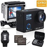 IXROAD Caméra Sport Embarquée 4K WiFi 20MP Action Cam Appareil Photo Étanche avec Gyro Stabilisateur Télécommande 2 Batteries et Accessoires pour Casque Moto Vélo Vtt etc (Noir)