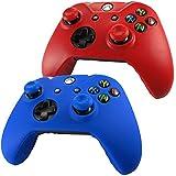 Pandaren® Piel Fundas Protectores para el Mando Xbox One x 2 + pulgar agarre thumb grip x 4(rojo + azul)