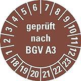 LEMAX® Prüfplakette geprüft nach BGV A3,18-23,braun,Dokumentenfolie,Ø 20mm,36/Bogen