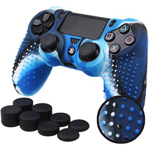 Pandaren BORCHIE silicone custodie cover pelle antiscivolo per PS4 controller x 1 (camuffamento blu) + FPS PRO thumb grips pollice prese x 8