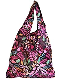 Floral Print Stylish Folding Pocket Tote Bag For Travel Shopping Picnic Beach Hiking Trips - B07C2W5HFH