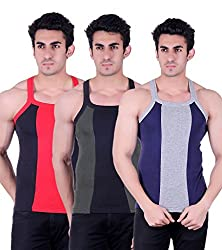 Zimfit Gym Vest - Pack of 3 (Blue_Green_Black_32)