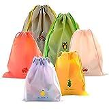 Set di 6 Borsa Morbida Impermeabile Borse Da Viaggio Coolzon Sacca da Ginnastica del PE plastica Sacchetto Portatile a Spalla Per Palestra Drawstring Bag Gymsack