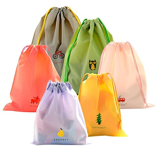 Bundle of 6 Turnbeutel Sportbeutel Kordelzugbeutel Coolzon® Wasserdichte PE Plastik Drawstring Bags Gym Sack Beutel Tasche Jutebeutel 3 Größen 6 Farben