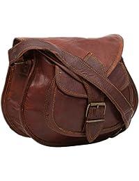 "Handcraft's ""Chloe"" Brown Genuine Leather Women's Cross Body Bag 9 Inch"