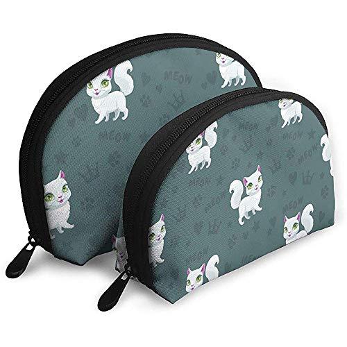 Bezaubernde weiße Kätzchen-personalisierte Kosmetiktasche Shell Shape für Damen-Kosmetik-Speicher -