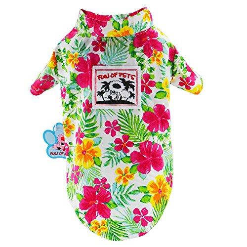 Top Kostüm Zehn - Lager Show Pet Hawaiian Shirt, 2018Bambus NewStyle Sommer Strand Weste Kurze Ärmel Haustier Kleidung Hund Top Floral T-Shirt Hawaiian Tops Hund Jacken Outfits für Hunde Katzen, S-10, Grün