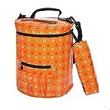 Homyl Knitting Tote Bag Stricken Garn Aufbewahrungstasche Gedruckte - Orange, 30 x 27 x 27 cm