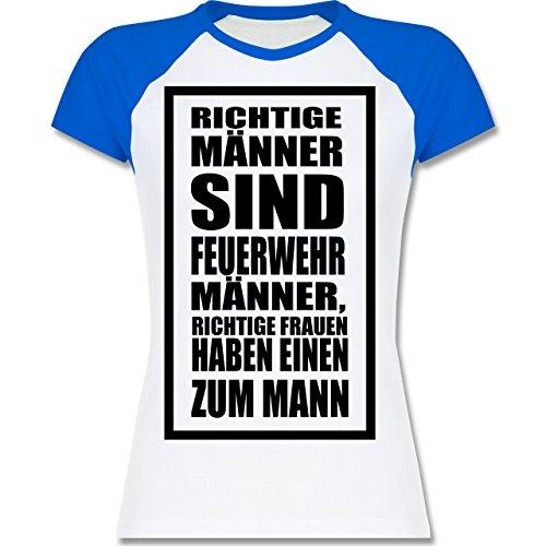 Shirtracer Feuerwehr - Feuerwehr - Richtige Männer - Zweifarbiges Baseballshirt/Raglan T-Shirt für Damen Weiß/Royalblau