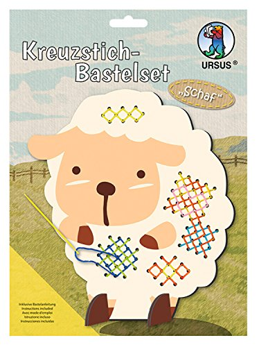 Ursus 21420002F Kreuzstich Bastelset für Kinder, Motiv Schaf Preisvergleich