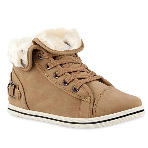 Warm Gefütterte Sneakers Damen Sneaker High Kunstfell Winter Gesteppte Flats Winter Sport Schnürer Übergrößen Schuhe 110036 Khaki 42 Flandell® (Street-sport-schuh)