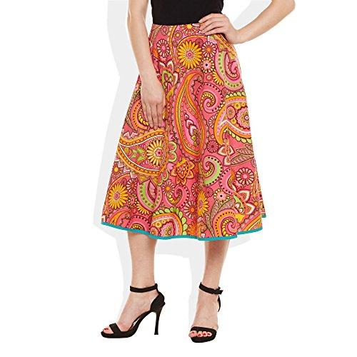 Damen Bekleidung Baumwolle gedruckt mittellanger Rock a-Linie Rosa 1