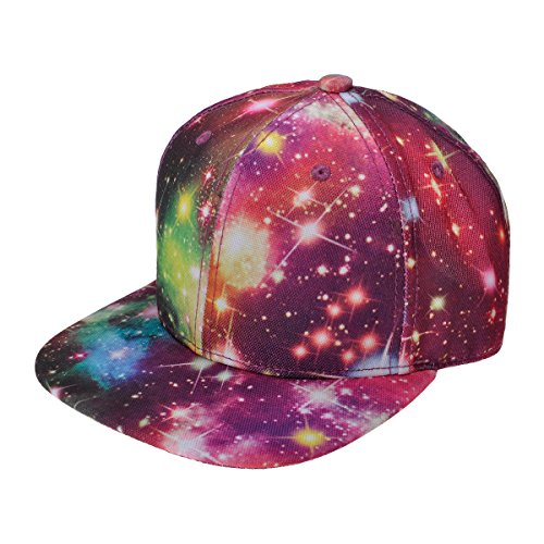 ZYLC Flatcap/Baseballm¨¹TZE, Unisex, Bedruckt, Motiv: Galaxie, Flacher Schild, gr??enverstellbar durch Druckknopflasche, Hip-Hop-Stil - Schwarz (Hip-hop-galaxie Hat)