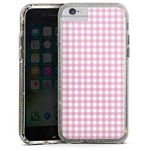 Apple iPhone 7 Bumper Hülle Bumper Case Glitzer Hülle Karo Pink Rosa Bumper Case Glitzer gold