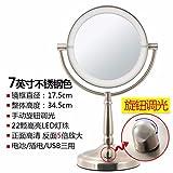 STAZSX ConduitLes miroirs de toilette miroir Lumière de bureau grand continental deux faces miroir de maquillage miroir Princesse mariage avec la lumière,7Couleur Acier inoxydable 81 cm-5Le grossissement